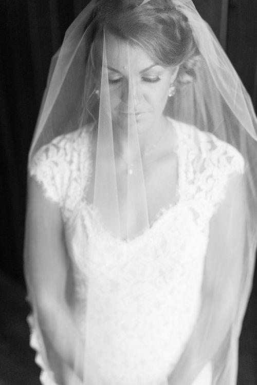 Bride Portrait Black and White Photo Veil Over Face | Gale-Vineyard-Chico-California-Wedding-Engagement-Photographer