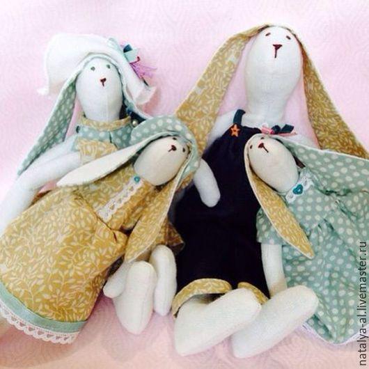 Куклы Тильды ручной работы. Ярмарка Мастеров - ручная работа. Купить Заячья семейка. Handmade. Мятный, интерьерные штучки