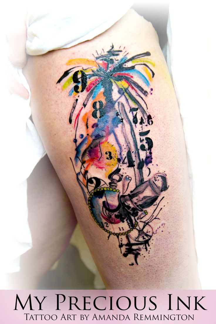 Watercolor Abstract Pocketwatch Tattoo | My Precious Ink ...