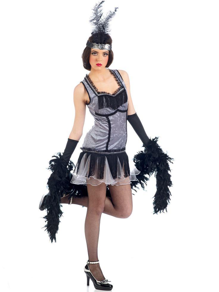 Disfraz Charlestón mujer: Este disfraz de Charlestón para mujer incluye un vestido y una cinta para la cabeza (boa, zapatos, medias y guantes no incluidos).El vestido es corto de tela tipo terciopelo brillante....