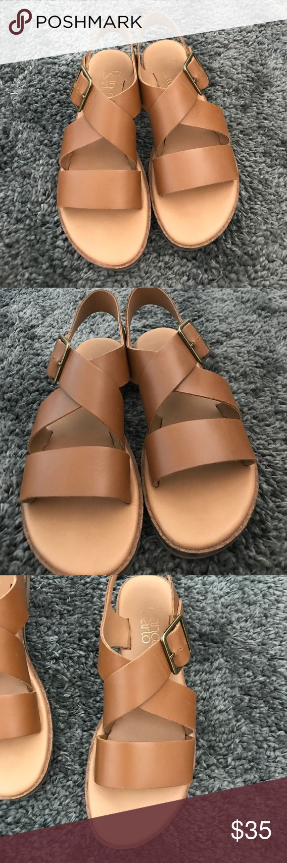 Franco sarto sandals These are super comfy! well padded great for al day wear. Barely worn. Selling because they're a little too wide for me (extremely narrow foot). Great summer staple! Franco Sarto Shoes Sandals