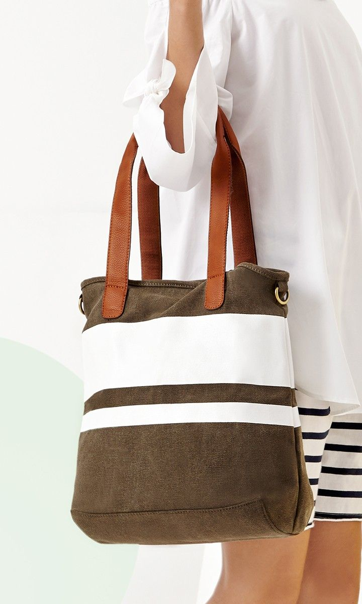 Olive striped canvas tote bag