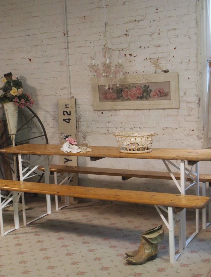 Painted Cottage Chic Shabby Farmhouse Beer Garden Table and Benc [TBL25] - $695.00 : The Painted Cottage, Vintage Painted Furniture