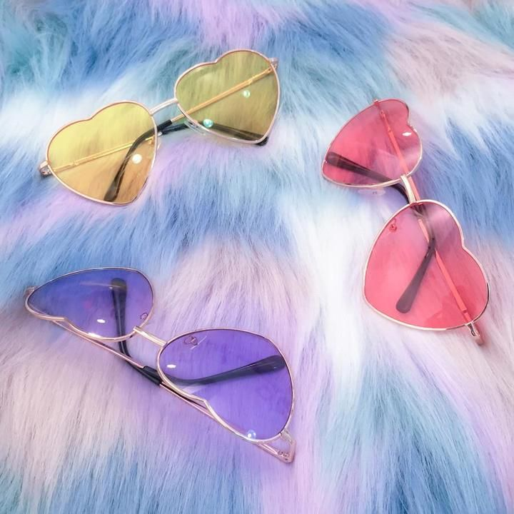 81bf273f01 Pink Yellow and Blue Sunglasses shaped like heart. Do you love aviators and heart  shaped stuff  Don t look any further. Perfect when you need a little ...