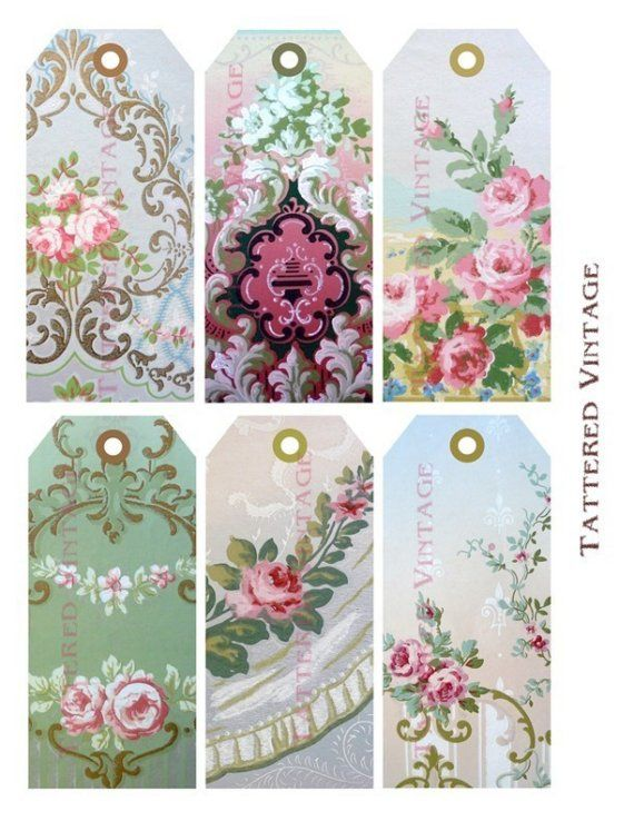 Victorian Wallpaper Tags Instant Download no.12 Antique Wallpaper Collage Sheet Tattered Vintage 12