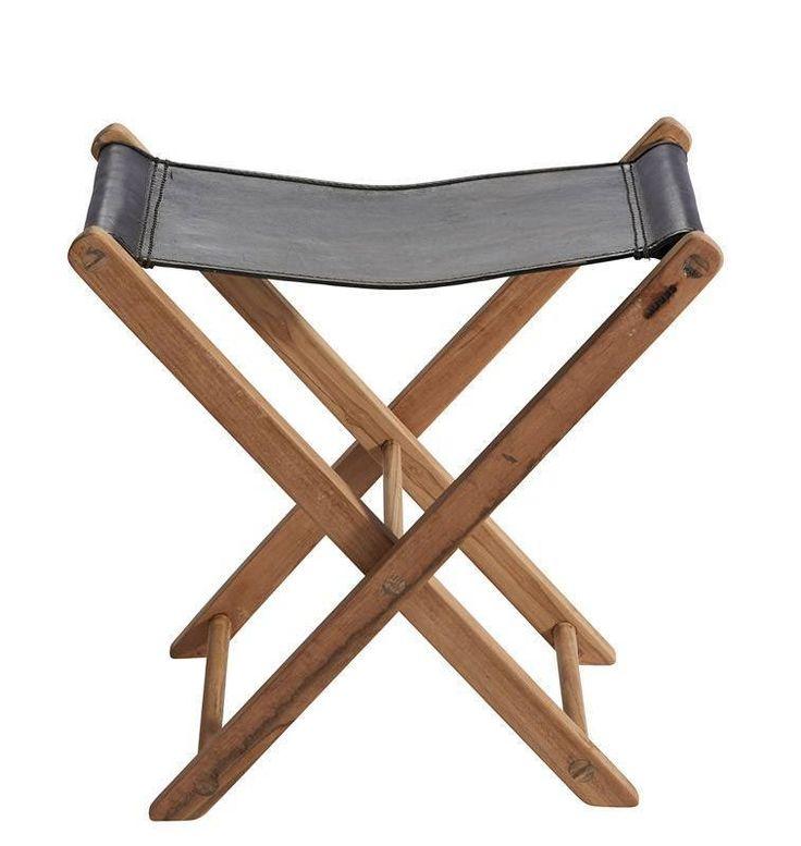 Muubs - Memphis Skammel - Sort læder - Flot og sammenklappelig taburet med teakstel og kernelæder-sæde