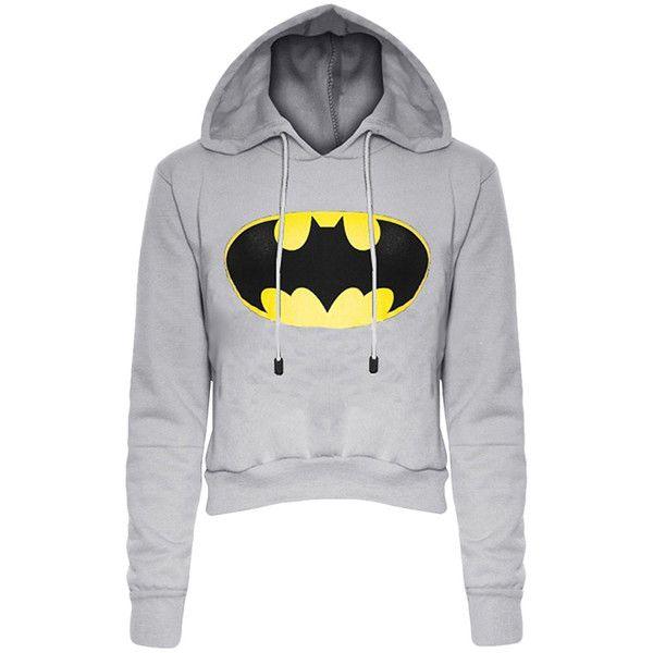 Womens Long Sleeve Color Block Batman Fleece Cropped Hoodie Gray (460 DOP) ❤ liked on Polyvore featuring tops, hoodies, grey, color block hoodie, color-block hoodie, grey hoodies, long sleeve hoodie and hooded sweatshirt