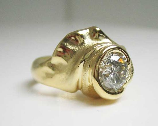 18k yellow gold ring with diamond by Hanna Cook-Wallace.