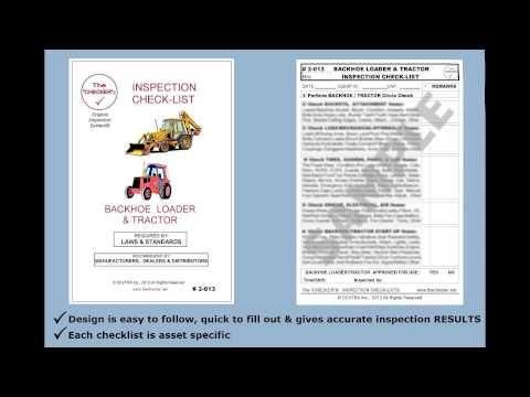 """""""Backhoe Loader & Tractor Inspection Checklist #2-013 The Checker""""  Embedded image permalink https://www.youtube.com/watch?v=o6nCPAN9vAA&list=UUFOXQFpRcuX3e0w6qsrmvkQ&index=35"""