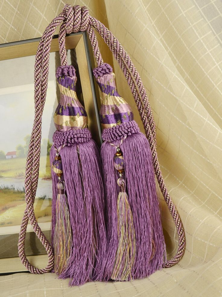 Colors QYM28 Polyester Curtain Tassel Tie Backs In Purple Color