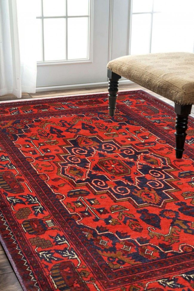 Laal Medallion Afghan Area Rugs