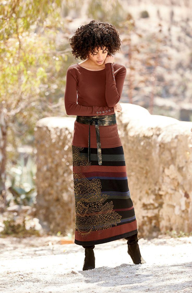 Such rich, beautiful colors! Gingerlily Skirt, Regiment Top, Bronze Leather Wrap Tie Belt
