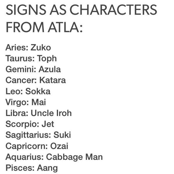 Image result for avatar the last airbender zodiac