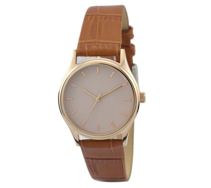 Ladies Rose Gold Watch Creamy Light Brown band from S & M Watch by DaWanda.com