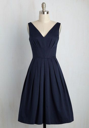 Culminate in Charm Dress in Navy - Blue, Solid, Pleats, Wedding, Bridesmaid, Wedding Guest, Fit & Flare, Sleeveless, Knit, Exceptional, Exclusives, V Neck, Cotton, Long, Party, Daytime Party, Vintage Inspired, 50s, Spring, Summer, Fall, Winter