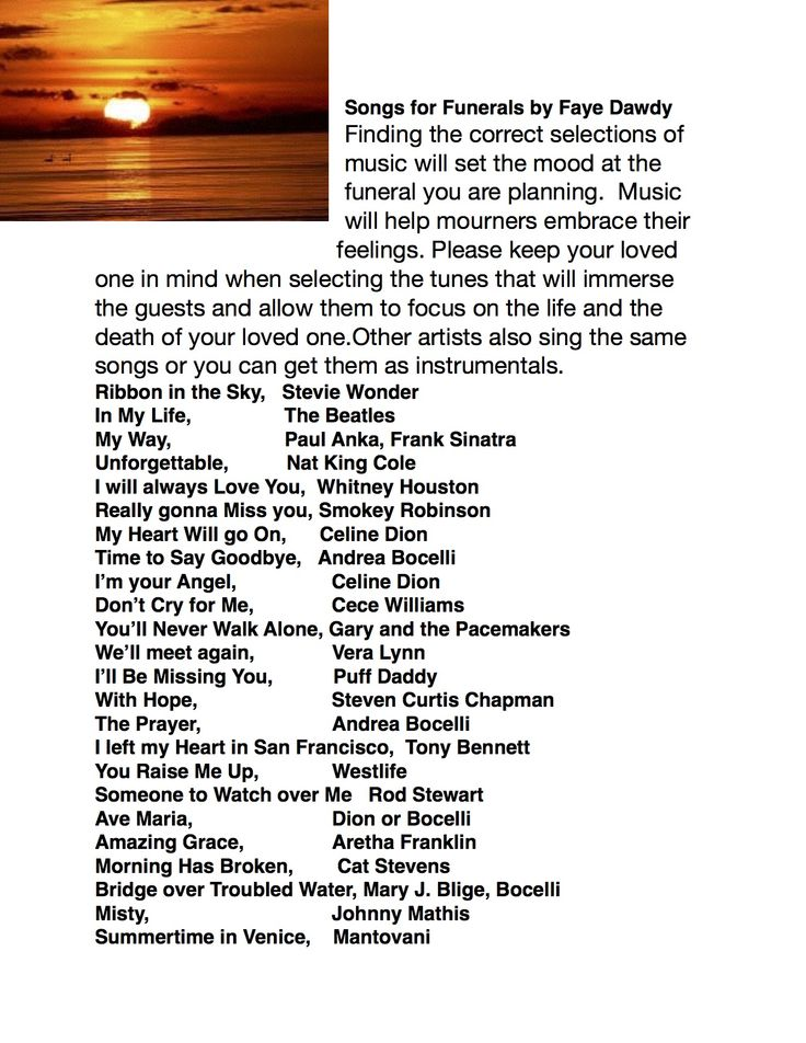 Songs For Funerals Funeral Planning Songs For Memorial