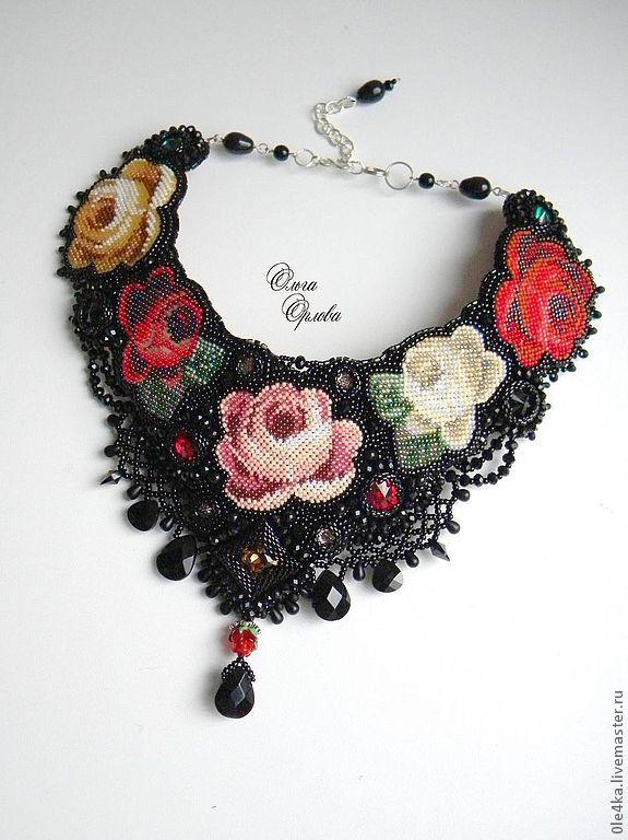 Купить Черный платок - чёрный, колье с розами, платок павловопосадский, черное колье, вышивка