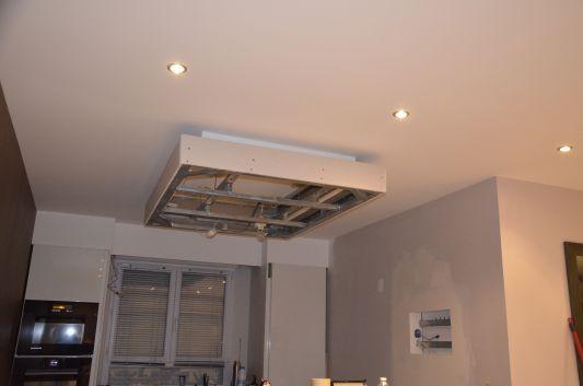 Plafond avec éclairage cuisine et salle de bain plafonnier - placo salle de bain plafond
