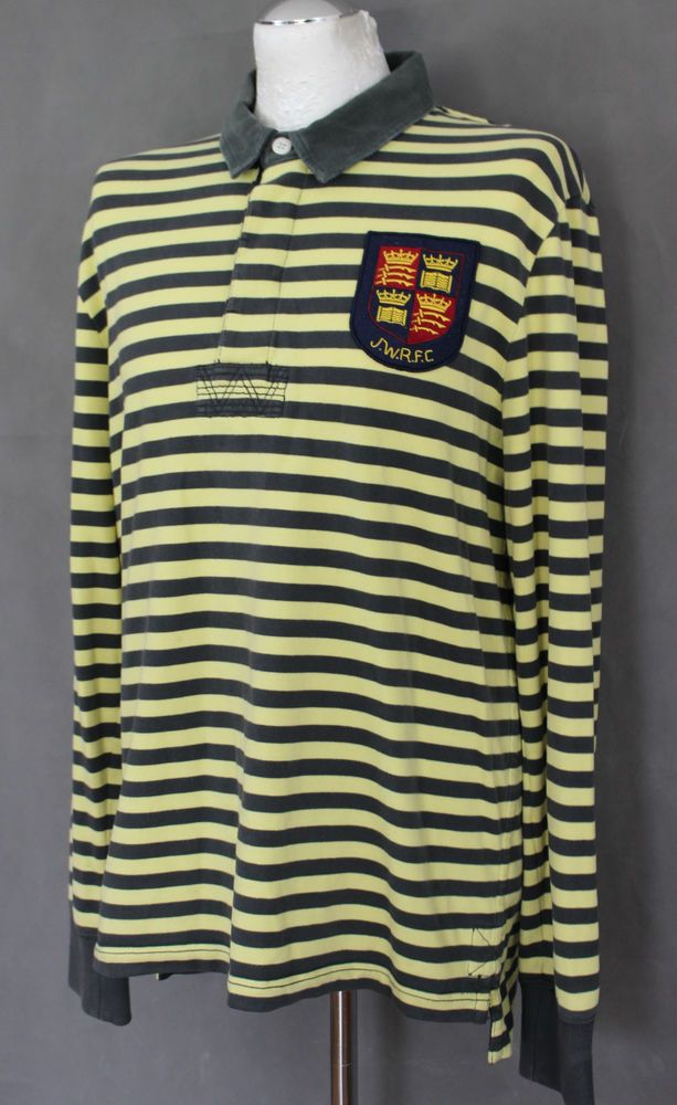 54983881fd8 JACK WILLS Mens Yellow Striped RUGBY SHIRT - Size Large - L #fashion # clothing #shoes #accessories #mensclothing #shirts #ad (ebay link)