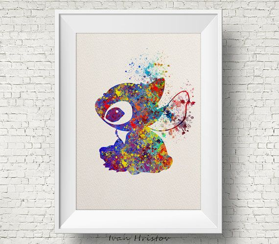 Stitch Lilo & Stitch disney  watercolor Art Print por IvanHristov