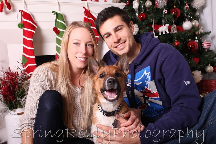 In studio Family and Pet Christmas Portraits by Durham Region's best portrait photographer Spring Reilly of Life's Elements Photography in Uxbridge, Ontario.  Dog: Rielly www.springreilly.com