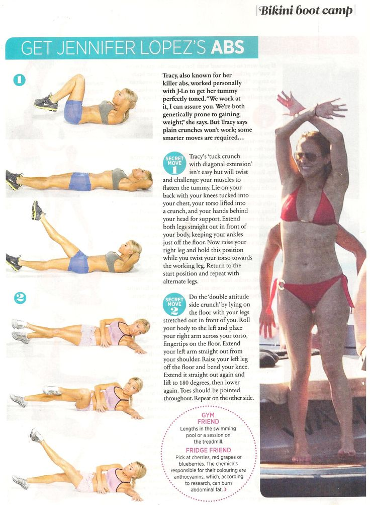 Tracy Anderson's tips for building toned abs like Jennifer Lopez's. From Cosmo UK, June 2011.