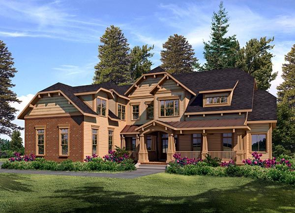Best House Plans Images On Pinterest Architecture Castle - Craftsman house plans with 3 car garage