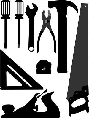 PublicDomainVectors.org-Silhouette vector image of selection of tools.  Color illustration of hand hammer, angle, wrench, screwdriver, saw, pliers, tools and instruments.