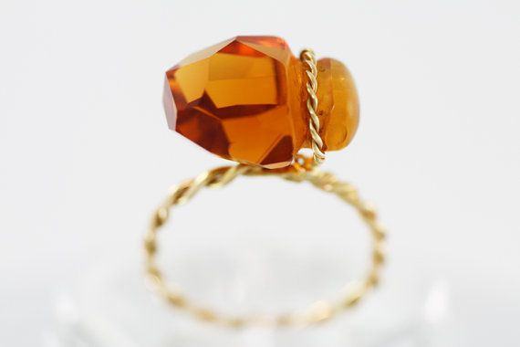 Citrine ring set with Gold K18  Natural Citrine by PetrosJewels