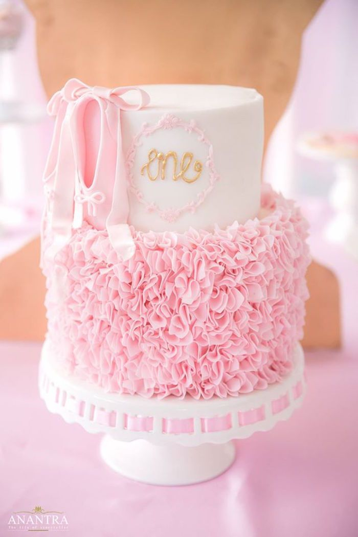 Pink ruffle ballet cake from an Elegant Ballerina Birthday Party on Kara's Party Ideas | KarasPartyIdeas.com (26)