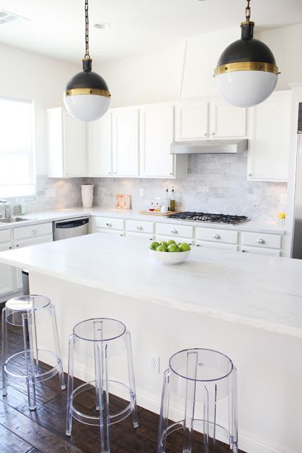 """After some more google research I foundJen's kitchen (from """"Made By Girl""""). She has my dream kitchen and it's not carrara marble it's the Corian Rain Cloud"""