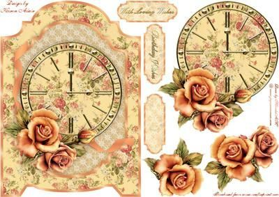 Vintage Roses and Clock Screen Card on Craftsuprint designed by Karen Adair - This is a screen shaped card front with a beautiful vintage clock and Roses. Decoupage and three sentiment tags are included, one tag left blank. If you like this check out my other designs, just click on my name. - Now available for download!:
