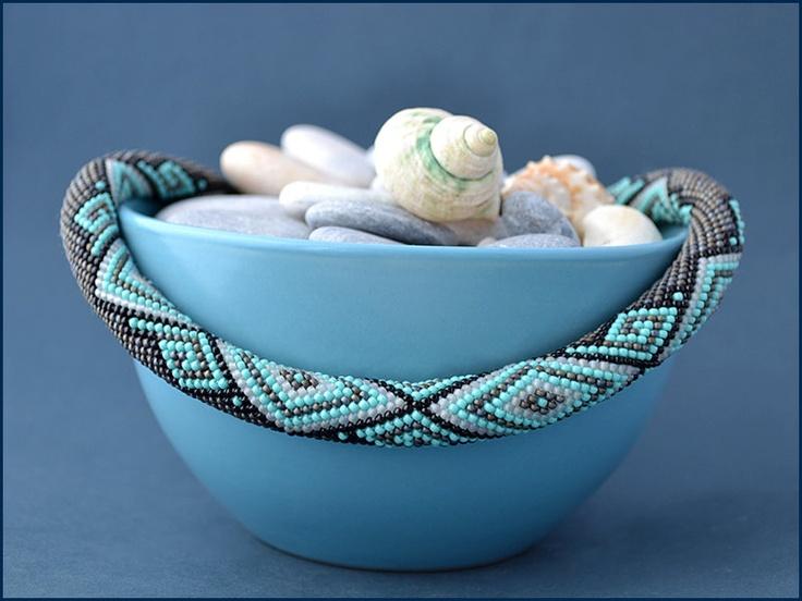 "Bead Crochet Necklace ""Santorini"""