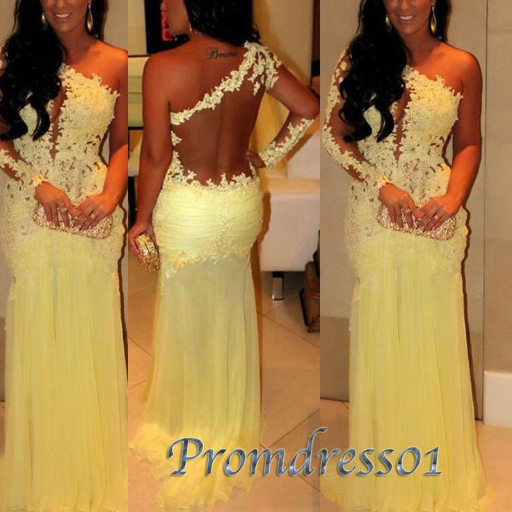 Sexy yellow one sleeve see-through long prom dress, modest dress for teens, backless ball gown, 2016 occasion dress from #promdress01 #promdress www.promdress01.c... #coniefox #2016prom