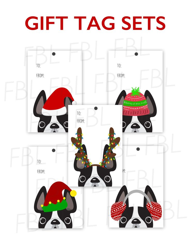 Festive Frenchies Gift Tag Set - French Bulldog Holiday Tags