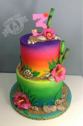 Airbrushed tropical cake                                                                                                                                                                                 Plus