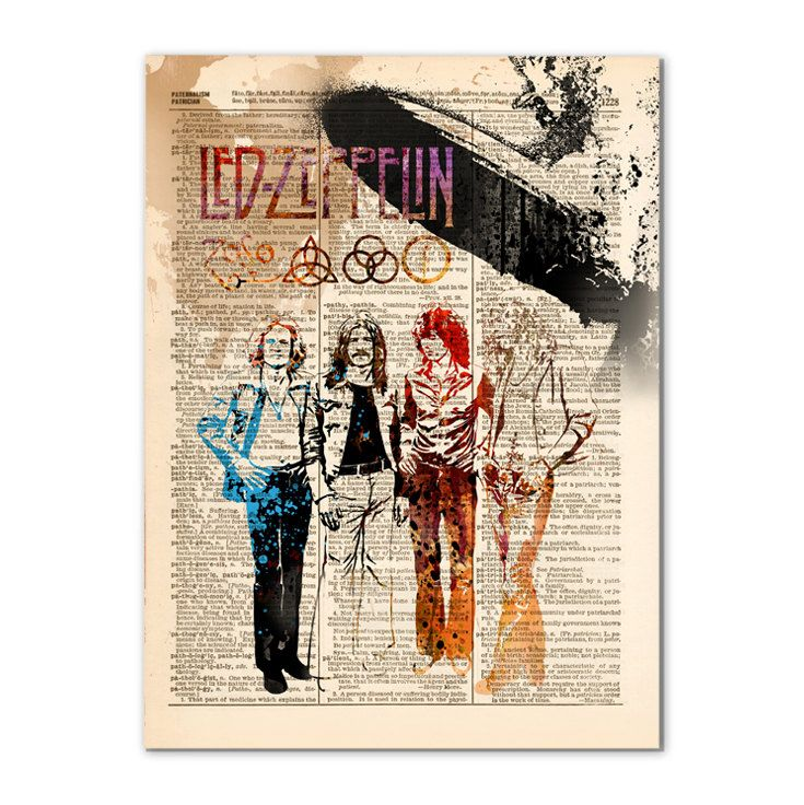 Led Zeppelin  / Art print on upcycled vintage dictionary paper / rock art /448