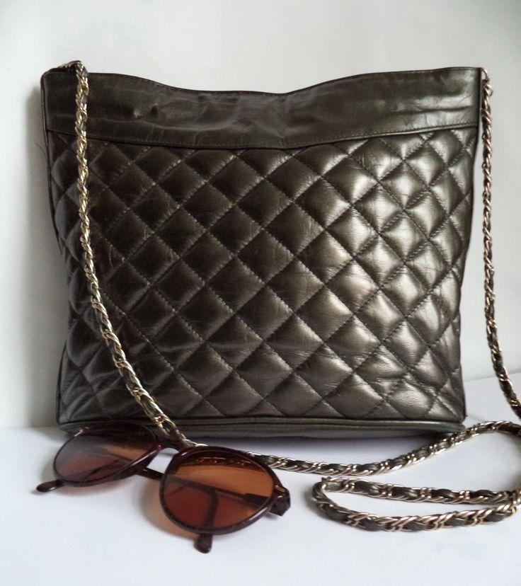 Laimbock quilted Bucket Bag Rare Vintage Metallic Gunmetal silver Leather Large handbag Shoulder Purse chain rope Strap Womens Holdall Bag by MushkaVintage3 on Etsy