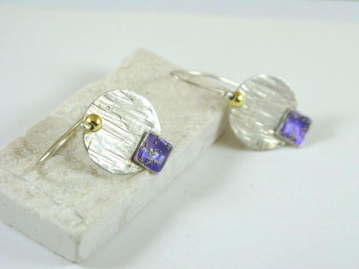 sterling silver,enamel.earrings