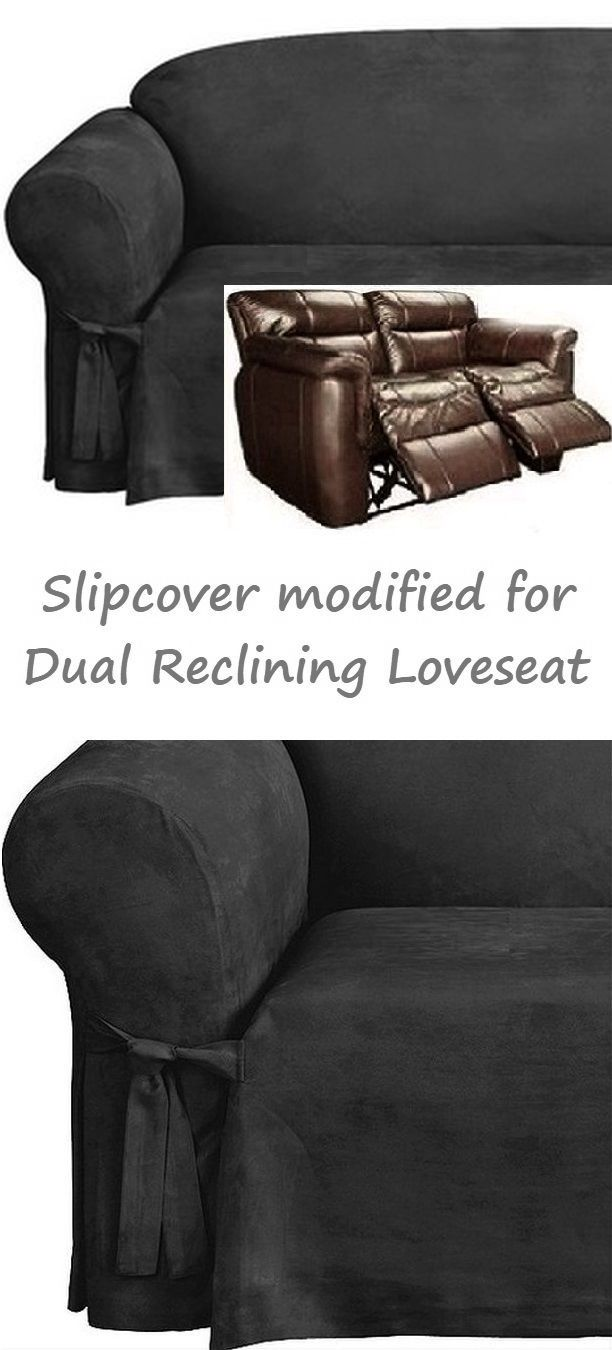 Reclining Loveseat Slipcover Black Suede 2 Seater Dual Recliner