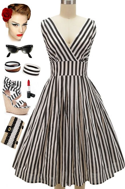 """BRAND NEW in store at Le Bomb Shop!! Available in """"Regular"""" & """"Plus"""" Sizes! Our Pinup Style Surplice Sun Dress in Black & White Stripe and in Mint & White Stripe... Buy them both here: http://lebombshop.net/search?type=product&q=%22pinup+style+surplice+sun+dress+-%22&search-button.x=0&search-button.y=0"""