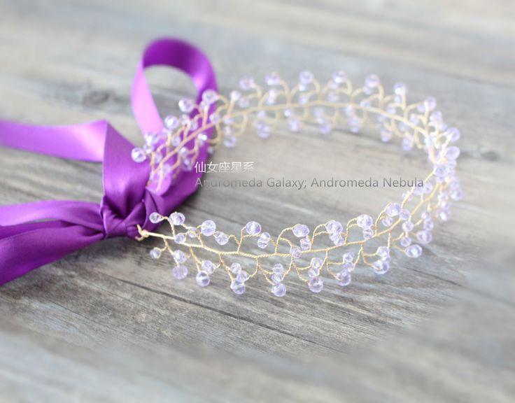 Ручной свадебный головной убор Корейский ростки травы фиолетовый кристалл Гирлянда корону оголовье группы волос головки цветка аксессуары для волос - Taobao