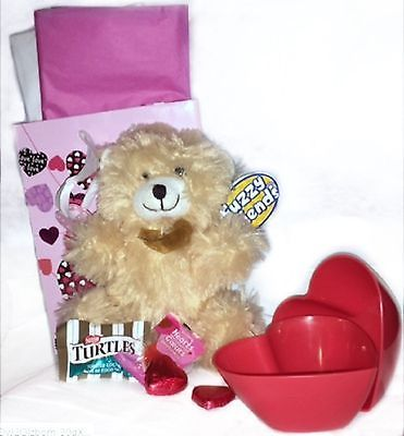"Gift Set Bag 4 Her: 8"" Teddy Bear, Scented Cupcake Candle & 2 Heart Shaped Bowls #ebay #trinital #GiftSetBag"