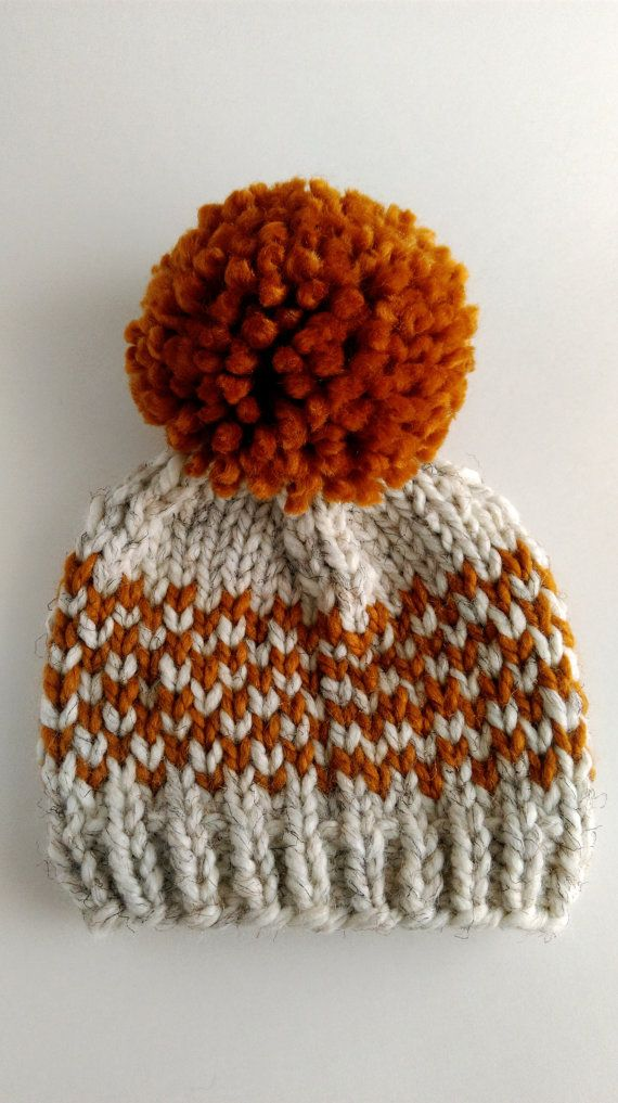Hat Knitting Pattern // Chunky Pom Pom Hat // Fair Isle Hat Pattern // Toddler hat pattern // Newborn hat pattern  Keep your loved ones warm this winter with a chunky fair isle pom pom hat! Written for sizes from newborn to adult, this hat makes a great last minute gift as it knits up in just a couple of hours with super bulky yarn.  It is knitted in the round from the bottom up, and adorned with an adorably oversized pom pom. Please note, this listing is for the knitting pattern, not the…