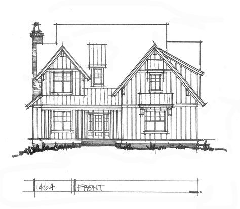 Check out the front elevation of house plan 1464.