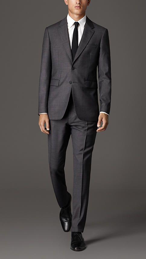 Dark grey melange Modern Fit Travel Tailoring Virgin Wool Suit - Image 1