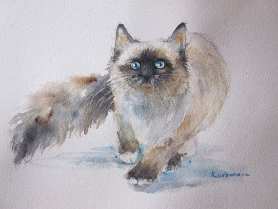 Cat Hunter Original Watercolour Painting  20.0cm H by AustraliaArt