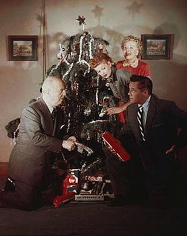 "Publicity Christmas photo (1953). | 25 Rare Photos Of ""I Love Lucy"" InColor"