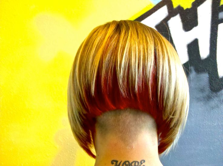 Angled Bob With Undercut And Bright Red Underlay Back