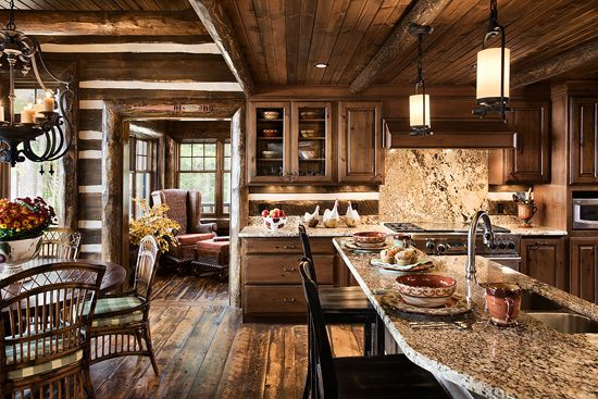 Love This Log Cabin Kitchen Country And Cozy And I Love